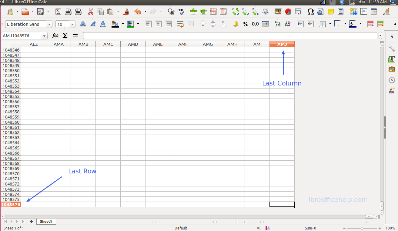 Maximum Number of Rows, Columns, Cells in LibreOffice Calc