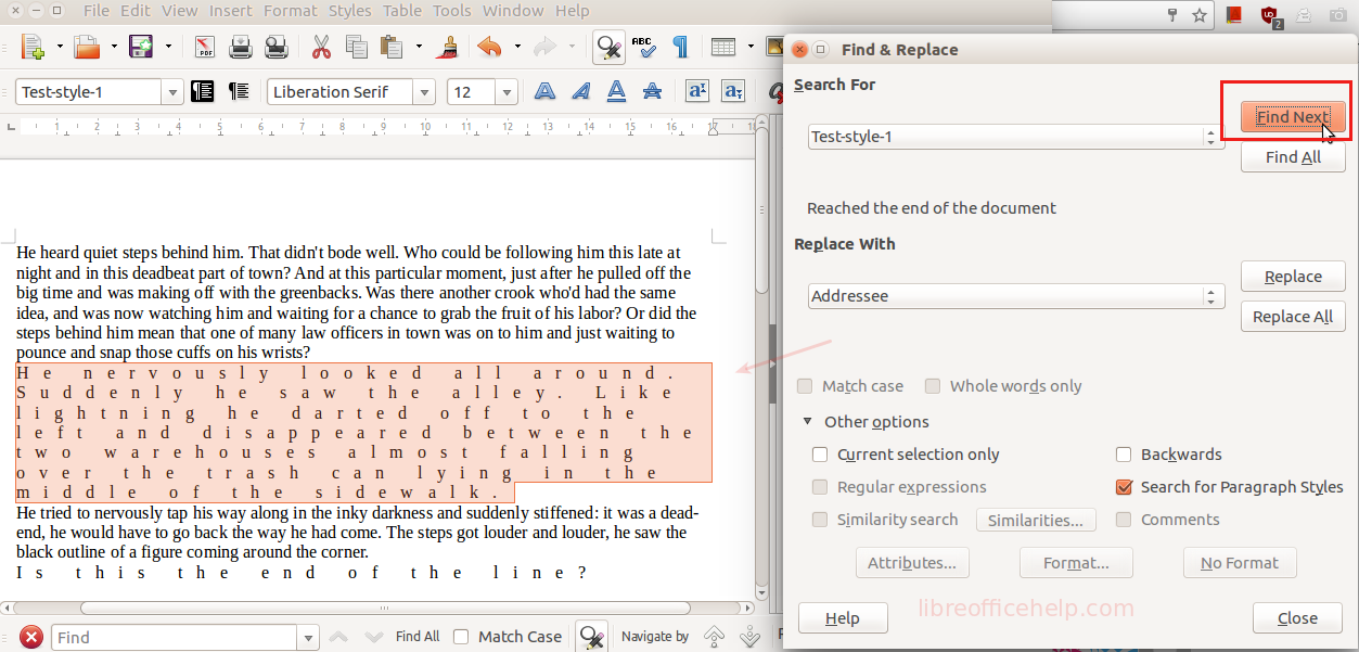 How to Find A Paragraph Style in LibreOffice Writer Document