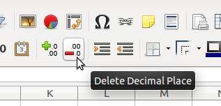 Toolbar - Decimal Places - Minus