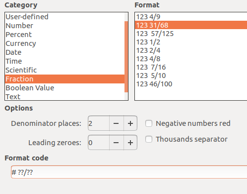 How to Enter, Display Fractions in LibreOffice Calc