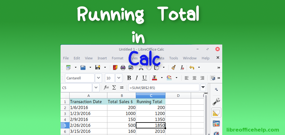 Create Running Total Column in LibreOffice Calc