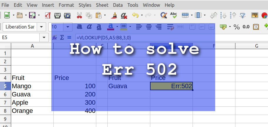Calc Spreadsheet Err 502 – How to Solve