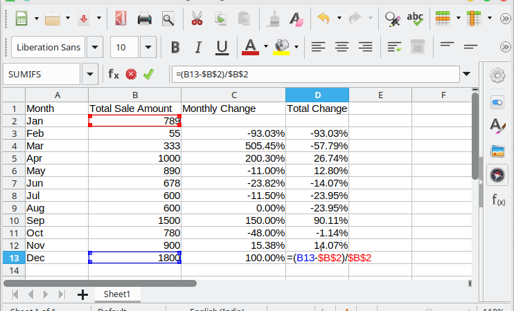 How to Calculate Percentage Change in LibreOffice Calc