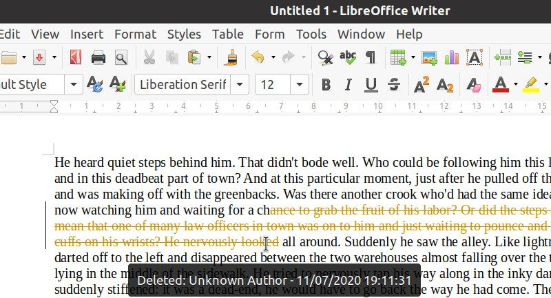 Track, Accept and Reject Changes in LibreOffice Writer