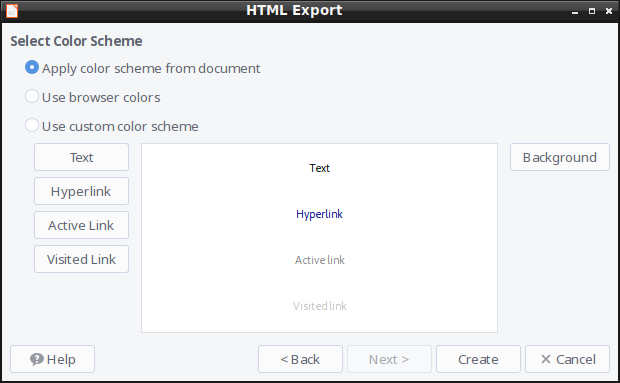 HTML Export - Color