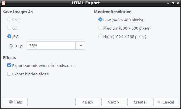 HTML Export - Image Type