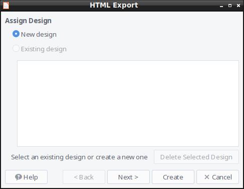 HTML Export - New Design Window