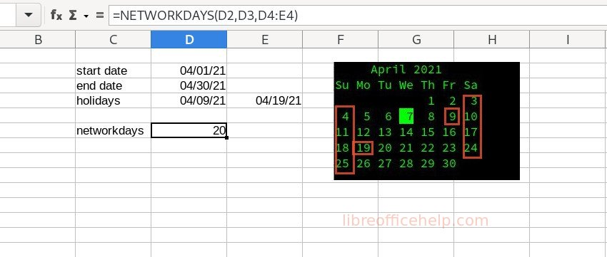 NETWORKDAYS Example