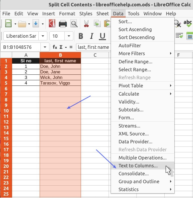 Text to Columns in Menu